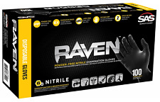 SAS Raven Black Nitrile Gloves Powder Free Size: M , L and XL - Free Shipping