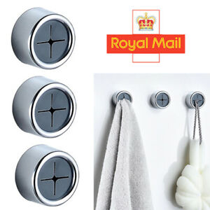 3PCS Push In Tea Towel Holder Grip Hooks Chrome Self Adhesive Kitchen Cloth Clip