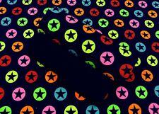 Stoffpaket Neon Stars dunkelblau Kinderstoff Jersey Sterne + Bündchen Stoffset