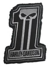 Harley-Davidson Dark Custom #1 Skull Frayed Emblem Patch, 4 x 3 inches - Gray