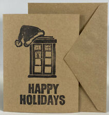 Handcrafted Dr Who Tardis Whovian Christmas Happy Holidays Kraft Blank Card Gift