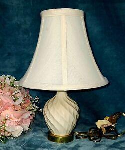 "Lenox Table Lamp Swirl Diamond Ivory White Porcelain Brass 13"" Night Stand"