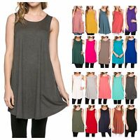 USA Women Casual Scoop Neck Sleeveless Long Tunic Top Knit Dress T-Shirts Plus