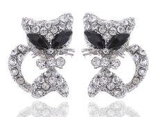 Cute Alien Eyes Cartoon Kitty Pussy Cat Clear Crystal Rhinestone Stud Earrings