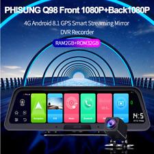 10In FHD Android 8.1 4-core Dual Lens Car Dashboard Dash Camera GPS WIFI 4G ADAS