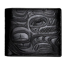 Native First Nations Mens Wallet Vegan Leather Wolf Design