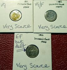 More details for 3 x victoria threepences 92.5%  silver 6d 1861 1862 1864 veryscarce spink# 3914a