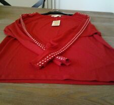 NWT Michael Kors  Women's Red Studded Long Sleeve Blouse Sz.XL