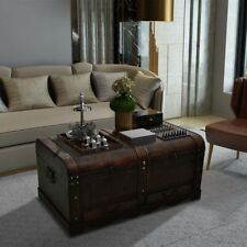 Wooden Chest Coffee Table Living Room Treasure Trunk Storage Box 2 Drawers Brown