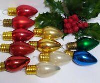 Vtg Christmas Ornament lot of 11 Mini Mercury Glass Bulbs Feather Tree gold caps