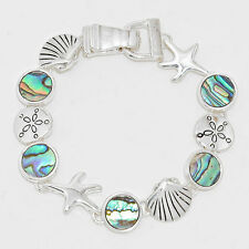 Starfish Bracelet Chain Link Magnetic Closure Clasp Shell Sand Dollar ABALONE