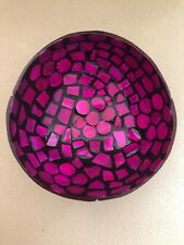 BN Handmade Decorative Black Lacquered Coconut Bowl, Inlaid with Pink Shell