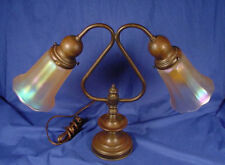 Vintage Brass/Copper Double Light Table/Desk Lamp W/Signed NUART Glass Shades