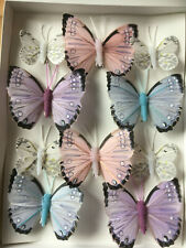Feather Butterflies - Pink/Blue/Lilac/White Butterfly Clips - Set of 10