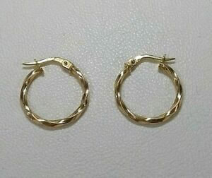 Genuine 9ct Yellow Gold Twisted Hoop Earrings  Small to Medium Size (Real Gold)
