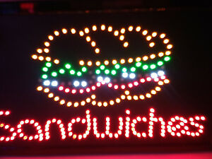 2 pcs SANDWICHES Neon LED Sign,Store Sign, Business Sign,Window Sign,