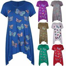 Womens Beaded Butterfly Print Stretch Tunic Hanky Hem T-Shirt Plus Size UK14-28