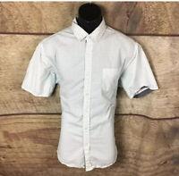 Airwalk Button Down Shirt Size XL White And Blue Short Sleeve Men (a54)