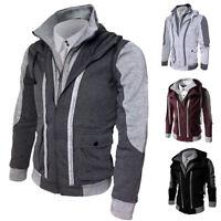 invierno piel hombre sudadera con capucha cálido abrigo chaqueta jersey Blazer