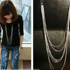 Fashion Silver 7 layer Long Tassel Pendant Necklace Sweater Chain Jewelry Lady