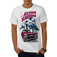 Wellcoda Flying Saucers Fashion Mens T-shirt,  Graphic Design Printed Tee