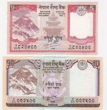Nepal 5 RUPEES 10 2010 2012 UNC Monte Everest BANCONOTA Set - 2 PZ