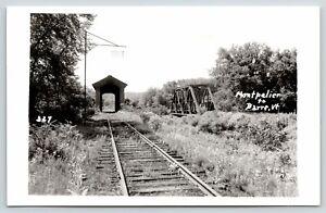 Montpelier to Barre Vermont~Railroad Tracks & Bridges~Covered Bridge~c1950 RPPC