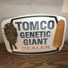VINTAGE 40'S STYLE TOMCO GIANT DEALER AGRICULTURE SIGN FARM BARN FEED AND SEED