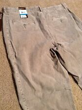PERRY ELLIS men Flat Front corduroys Tan color slim pants 36/32 NWT