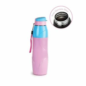 Drinkware Inner Steel Outer Plastic with PU Insulation Water Bottle 900 ml Pink