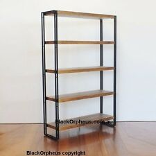Industrial Bookcase, Large Ironstone, W100xD30xH150, Metal, Timber Look Shelves.