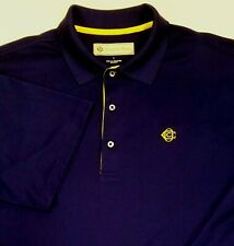 Donald Ross Men's Navy Yellow Mop Buttons Polo Golf Shirt