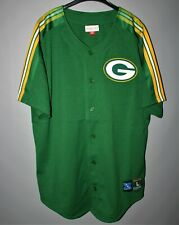 GREEN BAY PACKERS NEW MITCHELL & NESS BASEBALL SHIRT GREEN SIZE L NFL