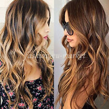 Womens Half Head Wig Long Straight Wavy OMBRE DIP DYE 3/4 Weave Brown Blonde Wig