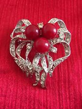 Coral And Silver Tone Crystal Pin Brooch Antique Great Holiday Gift