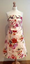 STICKY FINGERS DRESS SIZE 12 CREAM STRAPLESS ORANGE RED FLORAL PATTERN COTTON