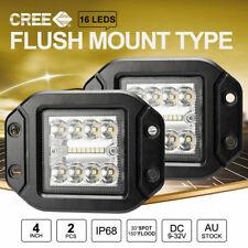 Pair 5 inch CREE Flush Mount LED Lights  Reverse Work 20000LM Combo Beam 12V 24V