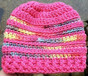 SALE Messy Bun Ponytail Beanie Baby Girl 6 - 12 Months Hat Handmade Crocheted