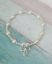 Freshwater Pearl & Sterling Silver Bow Bracelet, Bridal Jewellery, Wedding