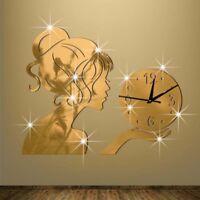 Creative 3D Wall Clock Watch Mirror Quartz Clocks Living Room Home DIY Decor