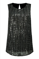 !! NEW IN !! EX F&F Womens Black Plissé Sequin Shell Vest Top BNWT Size 12
