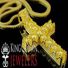 Real 10K Yellow Gold Silver Ankh Cross Canary Simu Diamond Pendant Charm + Chain