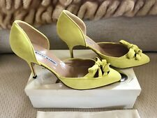 Manolo Blahnik Yellow Lime Bow Suede Pumps Vintage sz 41