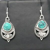 Vintage Antique Blue Turquoise Earrings Women Jewelry 14K White Gold Plated Gift