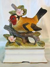 Porcelain Yellow/Red Bird Music Box Towle Pink Flowers Oh What Beautiful Morning