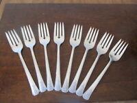 Oneida Community FORTUNE 8 Salad Forks Tudor Vintage  Silverplate Flatware  C