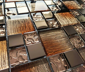 NEW BRONZE COPPER FOIL GLASS & METAL SQUARE MOSAIC WALL TILES 8MM - RRP £16
