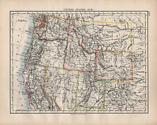 1902 MAP ~ UNITED STATES NORTH WEST ~ WASHINGTON NEVADA UTAH WYOMING MONTANA