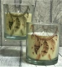 2 x Dreamcatcher Printed Glass Candle & Holders 8cm