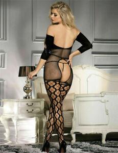 Sexy Lingerie Bodystocking Crotchless Open Bust Plus Size Fishnet Bodysuit V